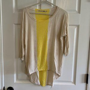 Michael Stars Colorblock High Low Wide Neck Top